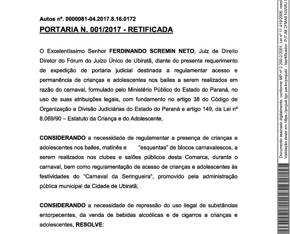 Poder Judiciário divulga Portaria sobre menores no Carnaval da Seringueira, Esquentas e Bailes