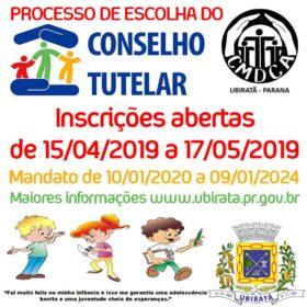 Inscrições para Eleição do Conselho Tutelar em Ubiratã termina hoje (17 de maio)