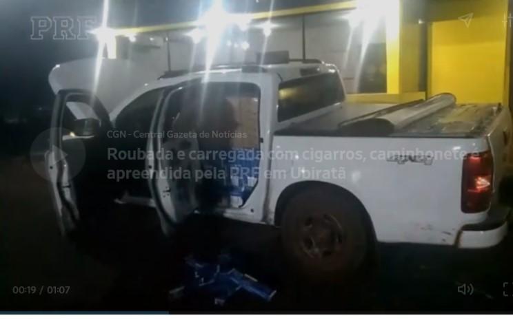 Roubada e carregada com cigarros, caminhonete é apreendida pela PRF em Ubiratã
